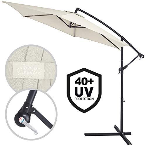Deuba Alu Ampelschirm Ø 300cm I Creme I mit Kurbelvorrichtung I UV-Schutz 40+ I Aluminium I Wasserabweisende Bespannung - Sonnenschirm Schirm Gartenschirm Marktschirm