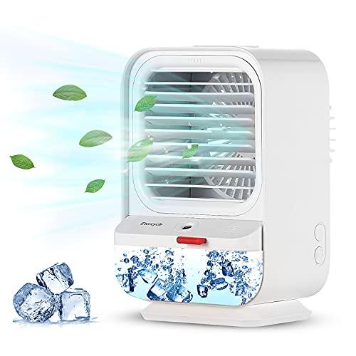 Mobile Klimageräte, Etercycle USB Ventilator mit 90° Drehfunktion, 4 in 1 Lüfter, Mini Luftkühler, Luftbefeuchter und Aroma Diffuser, 3 Geschwindigkeiten Tischventilator für Büro, Zuhause, Haustier