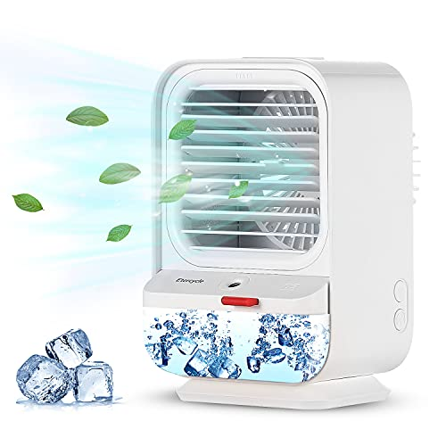 Portable Air Conditioner Fan, Etercycle 3 in 1 Mini Air Cooler, Humidifier and Rocking Desk Fan with 3 Speeds, Personal Air Cooling Fan for Home, Bedroom, Office, Pets, Outdoor etc
