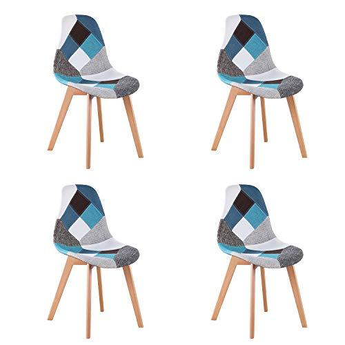 WV LeisureMaster - Set di 4 sedie per Sala da Pranzo, in Tessuto Patchwork, Imbottite, con Base in Legno, Ideali per Soggiorno, Sala da Pranzo, caffetteria, Sala d'attesa, ECC.