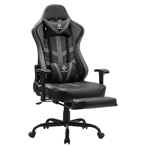 PEROINE Massage Gaming Chair with Footrest - Racing Computer Desk Office Swivel Task Chair Ergonomic Executive Bonded Leather Chair with Adjustable Arms, Headrest and Lumbar Support (Gray/Black)