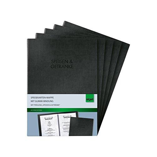 SIGEL SM116/5 Speisekarten-Mappen mit Gummi-Bindung für A5, 5-er Pack, schwarz