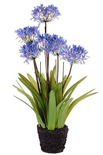 Artplants.de Agapanthus de plástico INJALA Tierra, Azul-Lila, 80cm, Ø11cm - Lirio Africano Artificial - Flor Falsa de agapanto
