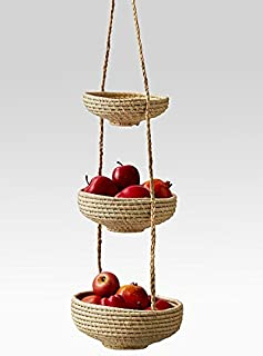 Serene Spaces Living Hanging Raffia Baskets – 3 Fair Trade Handmade Decorative Storage Baskets from Madagascar for Fruit