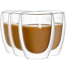 CREST Set of 4, 350ml Double Walled Thermo Espresso Glasses, Insulated Coffee Mugs, Drinking Glasses, for Tea, Coffee…