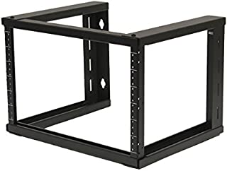 NavePoint 6U Wall Mount Open Frame 19 Inch Server Equipment Rack Threaded 16 inch Depth Black