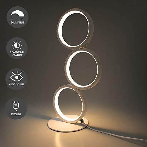 GBLY LED Tischlampe Dimmar Modern Nachttischlampe Weiß Schreibtischlampe in Ringform aus Aluminium, 12W Deko Nachtlampe mit 2.9M Kabel und EU-Stecker für Schlafzimmer Wohnzimmer Arbeitszimmer Büro
