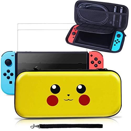 Tasche für Nintendo Switch, Aibeau Tragbare Reisetasche Schutzhülle für Nintendo Switch mit größerem Speicherplatz und 10 Spielkarten Grau