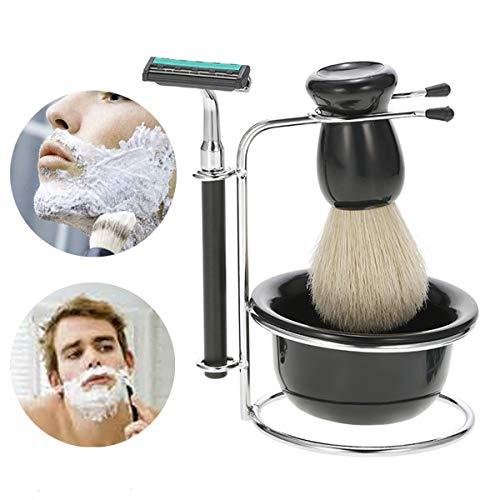 XingYue Direct heren-scheerset scheermes + penseel + standaard houder + zeepbakje 4-in-1 set