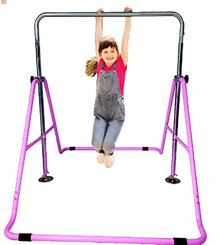 GYMPRO Kids Gymnastics Bar Horizontal Bar Junior Gymnastic Training Equipment Height Adjustable Climb Tower Balance Bar Asymmetric Bar Playground (Pink)