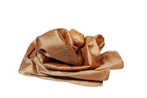"Golden Bronze Rich 100% Silk Dupioni Pocket Square for Men - Full-Sized 16""x16"""