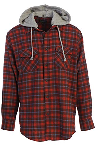 Gioberti Men's Removable Hoodie Plaid Checkered Flannel Shirt, Blood Orange/Sky Blue Highlight, Medium