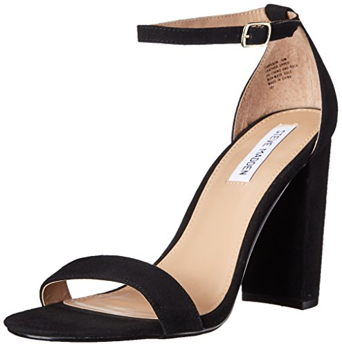 Steve Madden Women's Carrson Dress Sandal, Black Suede, 8 M US