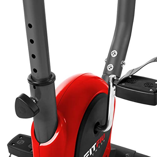 41qLED4B6uL - FITFIU Fitness BEST-100 Bicicleta estática compacta color Rojo, regulable en 8 niveles de resistencia, sillín ajustable en altura y pantalla LCD, Entrenamiento fitness en casa