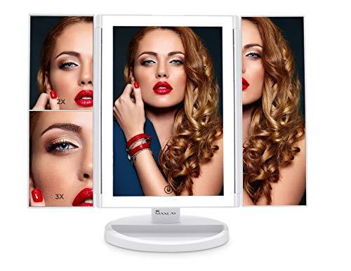 Espejo de tocador de maquillaje con 72 luces LED y 1x, 2x, 3x aumento   3 modos de iluminación de 3 colores portátil iluminado triple espejo con pantalla táctil, rotación de 180°