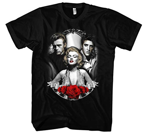 Vintage Legends Männer und Herren T-Shirt | Marylin Monroe James Dean Elvis Presley (3XL, Schwarz)