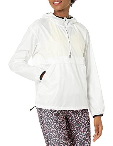 Amazon Essentials Women's Water-Resistant Pullover Packable Windbreaker, White, Medium