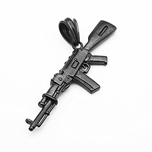 IPOTCH Fake Submachine Gun Colgante Collar Regalo Hombre CS Player M4A1 / ASG/AK-47 - Negro