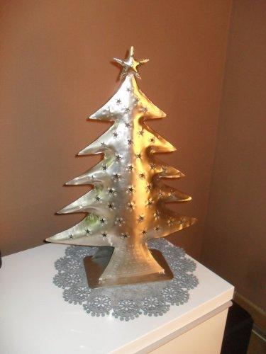 Silberfarbener Weihnachtsbaum 66 cm hoch mit Kerzenhalter Christbaum
