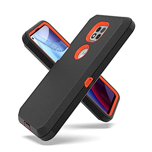 Fcclss Cell Phone Case for Motorola Moto G Power 2021, Heavy Duty Military Grade Hybrid 3 in 1 Shockproof Drop-Defender Case Cover, Black & Orange