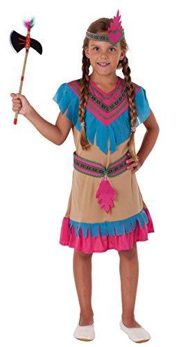 Magicoo Prinzessin Indianer Kostüm Kinder Mädchen Gr 110 bis 140 beige - Indianerin Kostüm Kind Fasching (134/140)