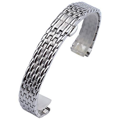 Correa de Reloj de Acero Inoxidable Correa de Reloj de Repuesto Ligera Pulseras Pulidas Para Hombres Mujeres Para Mujeres Correa de Reloj Ajustable,Silver-14mm