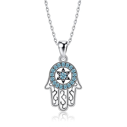 MIKUAX Collar Collares con Colgante de Mano de la Suerte de Fátima de Plata de Ley Genuina, Collar Azul Brillante para Mujer, joyería de Plata