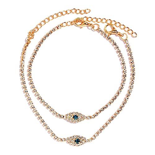 NIUBKLAS Tobillera Pulsera 2 Piezas de Ojo de Cristal eslabón de Cristal Cadena de Diamantes de imitación para Mujer Pulsera descalza Bohemia de Oro en joyería de Playa