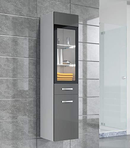 Badplaats B.V. Badezimmer Schrank Rio 131 cm Hochglanz Grau Fronten – Regal Schrank Hochschrank Schrank Möbel