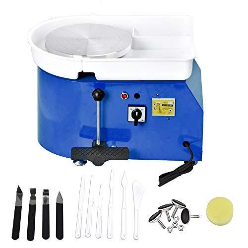 HUKOER 25cm Machine à Tour de Potier Bleu de Haute Mer Outil de Bricolage Art Craft pour Travaux en Céramique avec Kit d'outils, Pédale Fixe (Certificat CE)