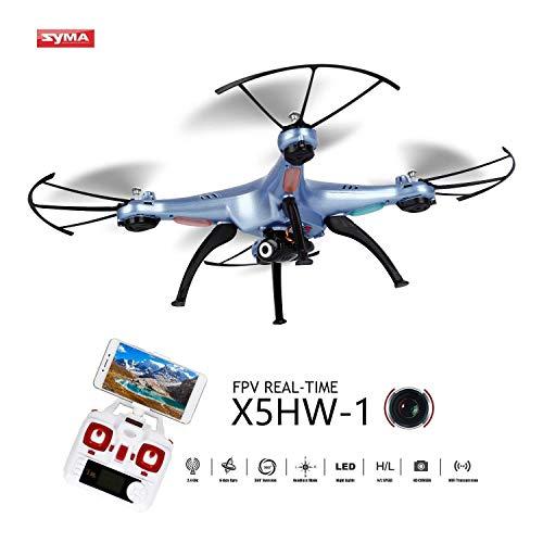 OCDAY Syma X5HW-1 Drone con Cámara HD WiFi FPV Versión Actualizada de X5C 2.4GHz 4CH 6-Axis Gyro con Función de Estabilización de Altitud, Modo sin Cabeza y Rotación de 360° (Azul)