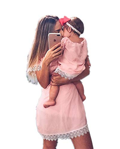 Loalirando Madre e Figlia Abiti Estivi in Pizzo Bianco Abiti Famiglia Senza Spalline Vestito Principessa Bambina/Vesti Donna Eleganti Rosa