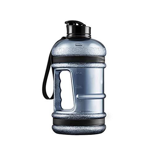 Botella de agua grande gimnasio con boca ancha tapa tapa tapa gris viaje taza ejercicio senderismo jarras fitness 2200ml 1 pieza