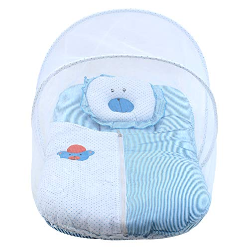 Superminis Baby Girl and Baby Boy Covering Sheet/Quilt Dot Printed Cotton Bedding Set, Thick Base, Foldable Mattress, Colorful Bear Shaped Frill Pillow and Mosquito Net (0-12 Months, Sky Blue)