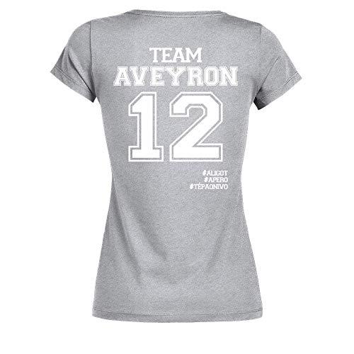 TEEZILY T-Shirt Femme Team Aveyron. 12#Aligot #Apéro #Tépaonivo - Gris chiné - M
