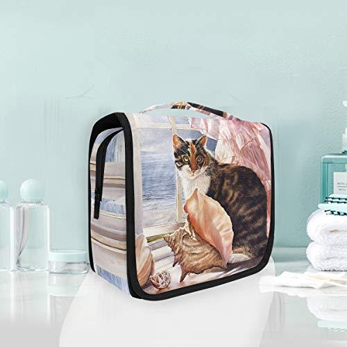 Bolsa de cosméticos de maquillaje Gato portátil en el alféizar de la...