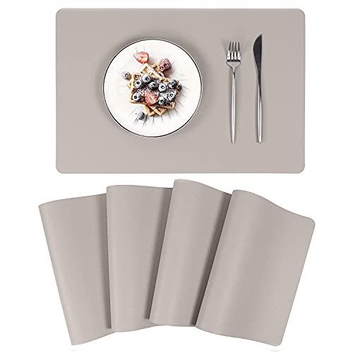 Tischsets Abwaschbar, Platzset Lederoptik 4er Set Kunstleder Wasserdicht Platzset PU Leder Platzdeckchen Tischunterlage für Hause Küche Restaurant und Hotel, 45x30cm (Grau)