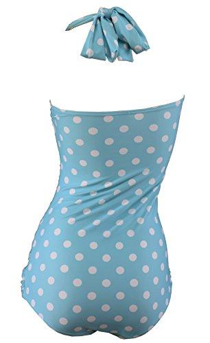 Aloha-Beachwear Rockabilly Vintage Look Neckholder Damen Badeanzug mit Polka Dots gepunktet Punkte A3039 (L / 40 / UK 14, Türkis / Weiss) - 3