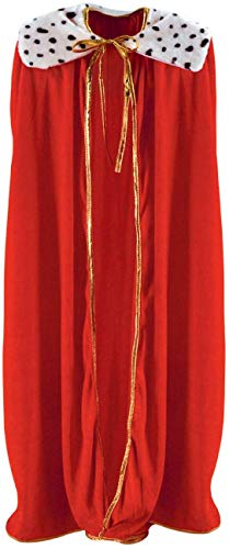 Curated Nirvana Robe for King and Queen   Red Faux Velvet Cape for Medieval Costume, Prom, Mardi Gras Cloak, Halloween Costume   4 feet 4 inches Long (1/pkg)