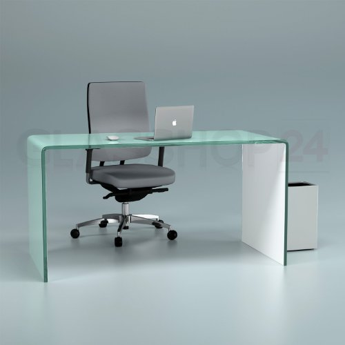 glasshop24 Design Schreibtisch aus 15mm Echtglas (B/T/H) 1400x700x730mm - Weiss