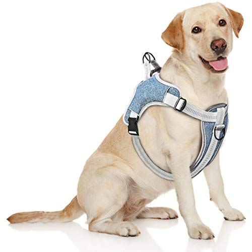 TAMOWA Arnés Perro Ajustable, Arnés Perro Grande Mediano Pequeño Cómodo Transpirable y con Lineas Reflectantes, Arnés para Perro para Caminar Entrenamiento (Azul, L)