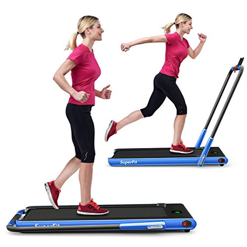 GYMAX Folding Treadmill, 2 in 1 Under Desk Electric Running Machine with Bluetooth & LED Screen, Portable Walking Machine for Home, Office, Gym (Navy)