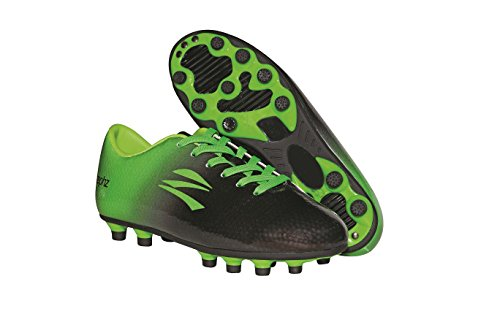 zephz Wide Traxx Black/Lime Green Soccer Cleat Adult 7.5