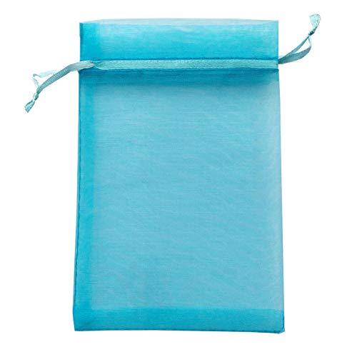 100 Pcs Per Pack 4x6 Gifts Wrap Bags Aqua Blue, Organza Sheer Fabric, Drawstring Transparent Mesh Bags for Baby Shower Favor,Anniversary,Dried Lavender Flowers,Confetti,Women Lipstick,Halloween,Travel