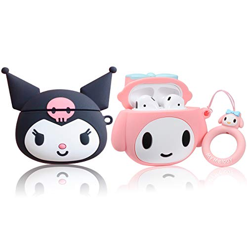 WowChic Case Compatible for Airpod 2/1, Cute Cartoon Kawaii Fashion Character Unique 3D Air pods Cover, Cool Fun Funny Anime Soft Silicone Girls Girly Women Cases for Airpods (Clomi+Meilody) (2 Packs)