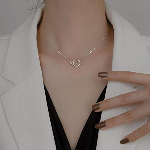 WQZYY&ASDCD Collar De Mujer Collar Y Colgante De Circonita Redonda De Doble Círculo De Plata De Ley 925 Regalo De Fiesta para Mujer-N1Silver