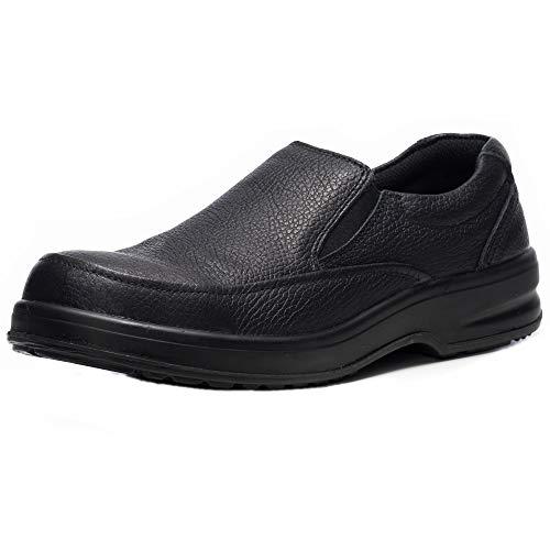 Alpine Swiss Arbete Mens Leather Slip-On Work Shoes Slip Resistant Black 11 M US