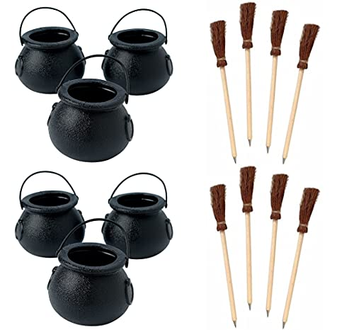 HAPPY DEALS ~ 12 Mini Cauldron Kettles Cups and 12 Witch Broom Pens - Halloween Favors and Decorations