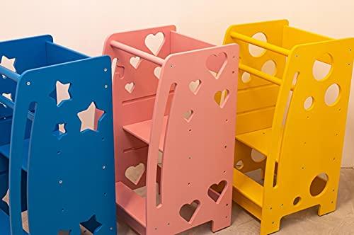 Generisch Torre de aprendizaje para niños, de madera, azul, rosa, amarillo, blanco, natural, 85 x 45 x 45 cm (blanco - estrellas)