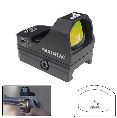 Maximtac Mini Reflexvisier/Red-Dot 2 mit 8 Lichtstufen + Nachtmodus Rotpunktvisier für Kurzwaffen, Langwaffen, Großkaliber geeignet
